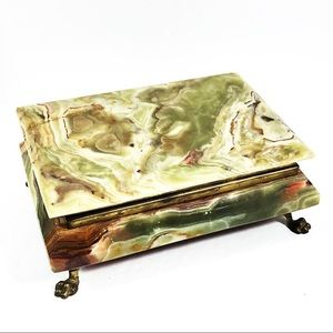 Vintage Heavy Marble and Brass Jewelry Box